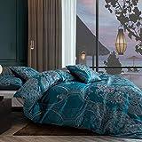 Set di biancheria da letto da 3 pezzi, 220 x 240 cm, turchese, blu jacquard foglie, motivo floreale, in microfibra di alta qualità, moderna, reversibile, con chiusura lampo, 220 x 240 + 2 x 80 x 80 cm