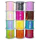 BELLE VOUS 12 Stück Glänzendes Paillettenband Glitter Paillettenband Ordnungsrolle -