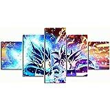 Gmoope Lienzo impreso sobre lienzo de 5 piezas para pared Goku Ultra Instinto Dragon Ball Hd Print 5 Panel Canvas Pictures Poster Home Wall Decor Artwork Mural Foto
