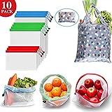 Usetcc Bolsas Compra Reutilizables Compra Ecológicas Bolsa de Malla para Almacenamiento Fruta Verduras Juguetes Lavable y Transpirable, 11 Set (3L+4M+3S+1Bolso de mano)
