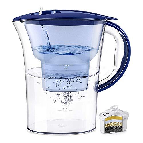 QYHSS Jarra Filtro Agua, Jarra con Filtro Acondicionador Agua 2,5 L, FiltracióN única De MúLtiples Etapas, 5 Capas Filtración Agua, para Una Jarra Filtro Agua Mineral Limpia Y Saludable (Azul)