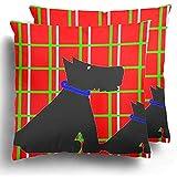 Not Applicable Pack de 2 Terriers Escoceses para Perros en Animales Escoceses Collar canino Negro Cuatro Fundas de Almohada Atractivas para el Tren para Dormir en avión