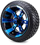 12' MODZ Ambush Blue & Black Golf Cart Wheels and Low Profile Tires Combo Set of 4