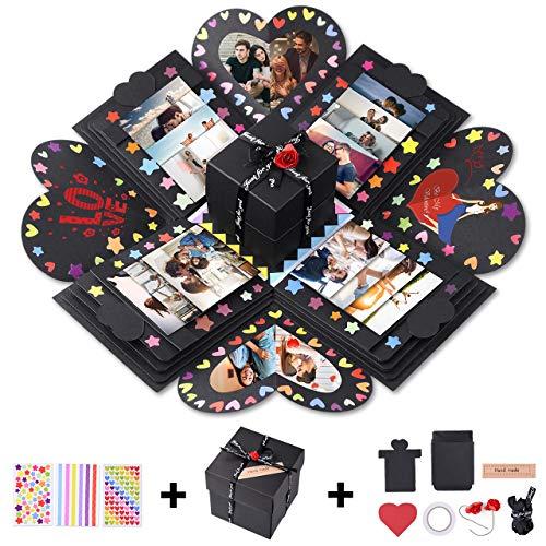 Erlliyeu Creativa caja sorpresa caja de explosión, regalo hecho a mano, álbum de fotos plegable, para Navidad, cumpleaños, aniversario, día de San Valentín, boda, día de la madre (A)