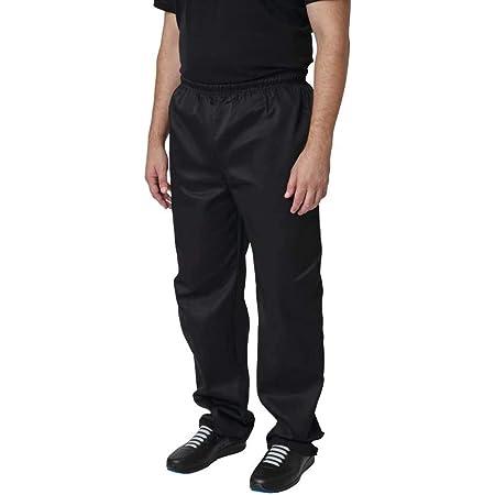 "Whites Chefs Clothing A582-3XL Polycotton Vegas Chef Trouser, Size 3XL, Waist Size 50""-52"", Black"
