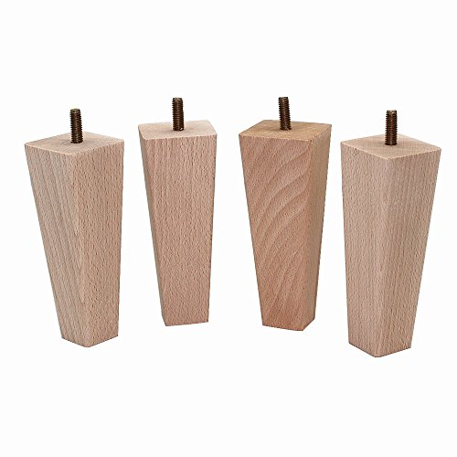 WEICHUAN Tapered Solid Beech Wood Replacement Sofa Couch Chair Ottoman Loveseat Coffee Table Cabinet Wood Furniture Feet Furniture Wood Legs(5.5