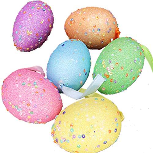 6 Stück Ostereier Plastik, Deko Dekoration Weiß Osterdekoration bastelset Kinder ab 6 Jahre kleine Geschenke für Kinder Deko-Eier aus Kunststoff in vielen Farben (Colorful)