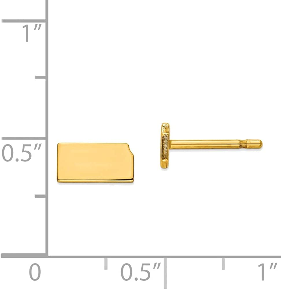 14kt Yellow Gold KS Small State Earring