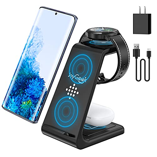 JoyGeek Wireless Charger for Samsung, 3 in 1 Wireless Charging Station for Samsung Galaxy Watch 3/Active 2/Gear S3, Galaxy S21/S20/S10/S9/S8, Note 20/10/9/8, Galaxy Buds Pro (Not for Galaxy Watch 4)