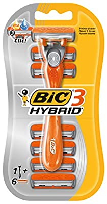 Bic 3 Hybrid Men's Triple-Blade Razors, Pack with 1 Handle + 6 Refills - Lubricating Strip with 3 Blades and Pivoting Head for a Smooth, Precise Shave