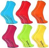 Rainbow Socks - Damen Herren Bunte Baumwolle Antirutsch Socken ABS - 6 Paar - Blau Rot Orange Pink...