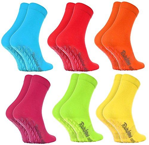 Rainbow Socks - Damen Herren Bunte Baumwolle Antirutsch Socken ABS - 6 Paar - Blau Rot Orange Pink Grün Gelb - Größen 44-46