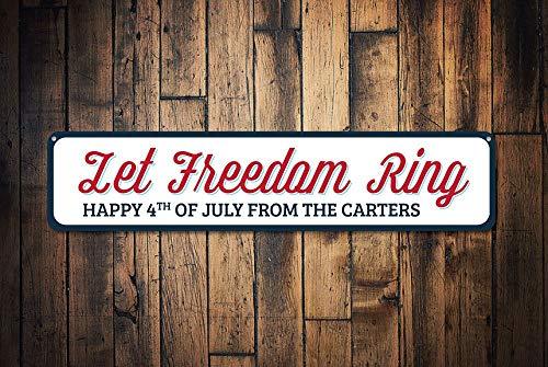 Fhdang Decor Let Freedom Ring Sign, Joyeux 4e de Juillet Décor, Custom Family Last Name Sign, American Pride Décor de Vacances, Plaque en métal, 10,2 x 45,7 cm