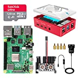LABISTS Raspberry Pi 4 8GB Starter Kit Motherboard 128GB SD Card Preloaded with Raspbian, Cooling Fan, 5.1V 3A Type C On/off UK Edition Power Supply, Micro HDMI Cable x 2, Red Case