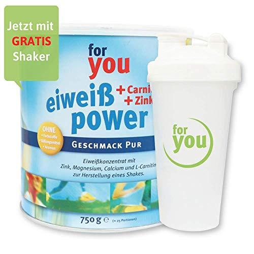 for you Power Eiweiß nach Strunz I Eiweißpulver Pur 750g + Shaker I Eiweisspulver mit Carnitin Whey-Protein Sojaprotein Milchprotein I Biologische Wertigkeit 156 I Mehrkomponenten Pulver