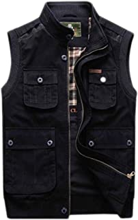Men's Spring and Autumn Multi-pocket vest thick section genuine collar business cotton vest casual large size