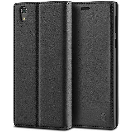 BEZ Hülle für Sony Xperia L1 Handyhülle, Tasche Kompatibel für Sony Xperia L1 Hülle, Case Schutzhüllen aus Klappetui mit Kreditkartenhaltern, Ständer, Magnetverschluss, Schwarz
