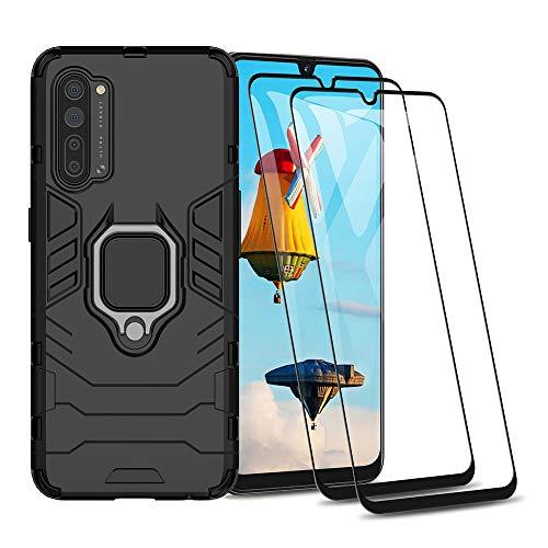 HAOYE Hülle für Oppo Find X2 Lite + 2 Panzerglas, Handyhülle mit 360 Grad Finger-Halter Kickstand für Magnetische KFZ-Halterung, Silica TPU + Harter PC Hybrid Schutzhülle Cover.Schwarz