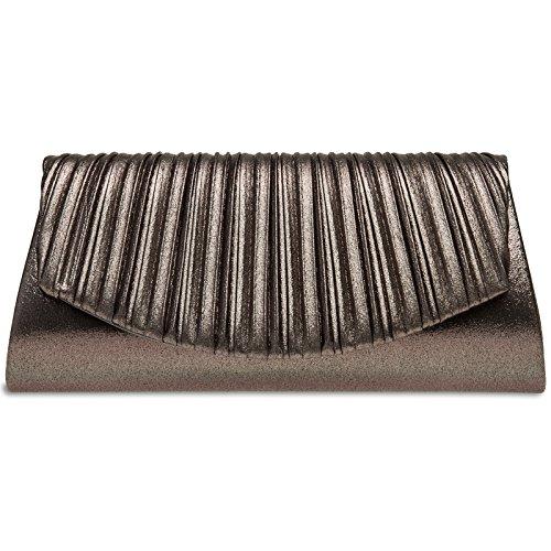 Caspar TA398 elegante Damen Glitzer Glanz Clutch Tasche Abendtasche mit Falten Dekor, Farbe:bronze, Größe:One Size