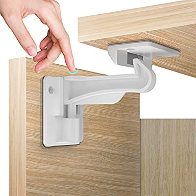 Child Proof Cabinet Locks Safety(10 Pack) - 3rd Generation Baby Proofing Locks Easy Install No Drilling or Keys, Works with Cabinets Cupboards Drawers Kitchen, Child Safety Cabinet Latches for Babies from KAFAKA