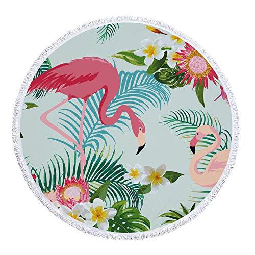 BCDJYFL Secado Rápido Toalla De Playa Flamingo con Hojas Rectángulo Manta De Verano Playa Compacto Resistente A La Arena Seque Rápidamente Yoga O Viajes.-Diámetro: 150Cm