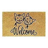 Banzaii Felpudo de Coco 40 x 70 cm Fijado a una Base de PVC Antideslizante – Welcome Gatos