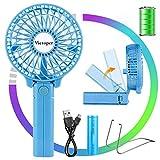 Victoper Mini Ventilador de Mano Portátil, Ventilador USB Portátil Plegable de Sobremesa 3 velocidades con 2600mAh Batería Recargable para Oficina/hogar/Exterior/C amping/Cochecito, etc (Azul)