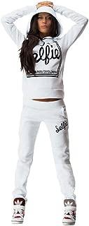 Women's Cotton Sport Pullover Two Piece Hoodie Tracksuit Sweatshirt Sweatpant Set