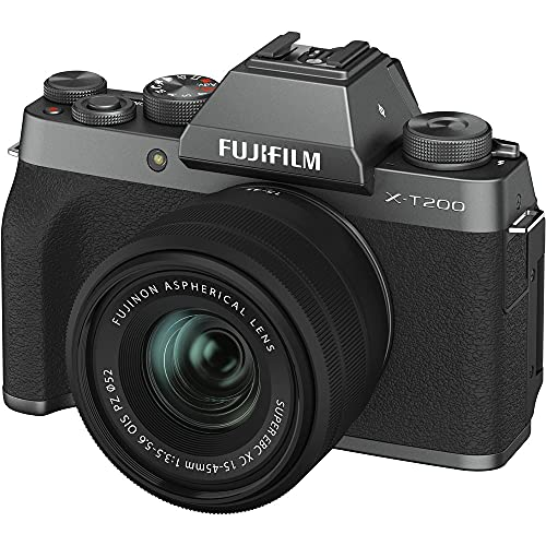 Fujifilm X-T200 24.2 MP Mirrorless Camera with XC 15-45 mm Lens (APS-C Sensor, Electronic Viewfinder, Vari-Angle LCD Touchscreen, Face/Eye AF, 4K Video Vlogging, Film Simulations) – Dark Silver