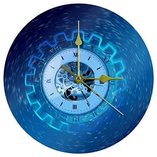 EZIOLY Acryl Wanduhr Zeituhr Transience Wheel Gear 25,4 cm lautlos nicht tickend Quarz batteriebetrieben ungeschalkt runde Wanduhren dekorativ für Zuhause Büro Schule