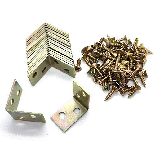 ALLNICE 20 Stücke 25x25x16mm 90 Grad Metall rechtwinklig Halterung Regal Unterstützung mit 80 Stück Schrauben