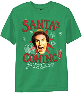 Elf Youth Santa's Coming Sketches Heavy Weight 100% Cotton Crew T-Shirt