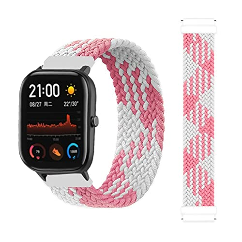 20 mm 22 mm Bucle solitario trenzado para un GTS 2 / 2E / GTS2 MINI/GTR 42MM 47MM / GTR2 / 2E / STRATOS 2/3 Pulsera Mire una correa BIP 10688 (Band Color : Pink white, Size : Large)