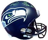 Authentic Autographed Russell Wilson Seattle Seahawks Riddell Football Helmet Go Hawks In Green RW ~ NFL Football Helmets