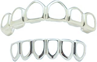 Big Dawgs Bling Hip Hop Silver Open Face Grillz Set Player Style