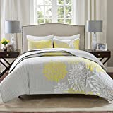 Comfort Spaces Enya Quilt Set - Casual Floral Print Channel Stitching Design, All Season, Lightweight Coverlet, Cozy Bedding, Matching Shams, Decorative Pillows, Yellow Full/Queen(90'x90') 3 Piece