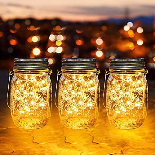 lámparas Solares Exterior, Juego de 3 Luz Solar Jardín, LED Impermeable Solar...
