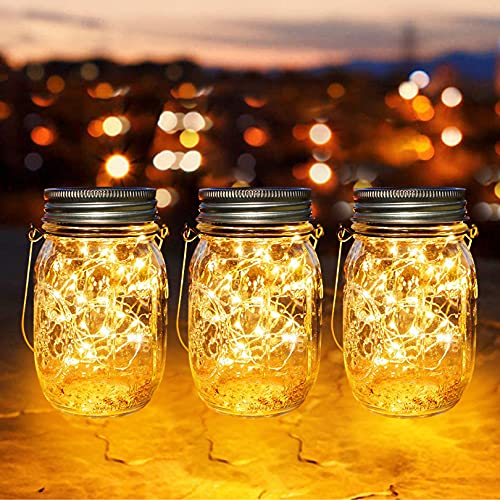 lámparas Solares Exterior, Juego de 3 Luz Solar Jardín, LED Impermeable Solar Masón Luz Hada Jardín Luz Solar para Decoración Jardín Fiesta Balcón Navidad vacaciones bodas