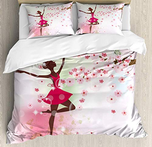 YnimioHOB Butterfly Duvet Cover Set, Fairy Ballerina Princess Dancer Floral Branch with Floral Petals, Decorative 3 Piece Bedding Set with 2 Pillow Shams,Rose Pink