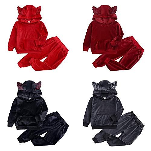 Baby Kids Meisjes Jongens Kleding Velvet effen kleur met lange mouwen met capuchon sportkleding met Vleugels T-shirt trainingspak Tops Pants Outfits (Color : Gray, Size : 140)