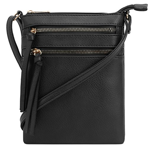 DELUXITY   Crossbody Purse Bag   Functional Multi Pocket Double Zipper Purse   Adjustable Strap   Medium Size Purse   Black