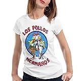 style3 Los Pollos Camiseta para Mujer T-Shirt, Color:Blanco, Talla:L