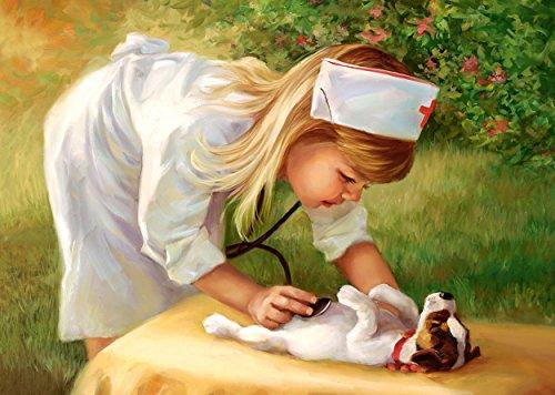 alles-meine.de GmbH Puzzle 500 Teile - kleine Krankenschwester mit Hündchen - Tierarzt - romantisch Mädchen Kinder - Hund Welpen Haustier Schwester Garten