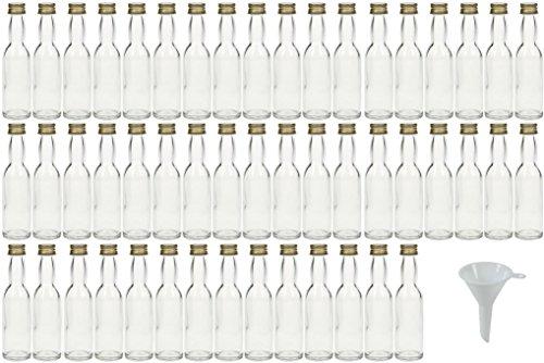 mikken 50 x Mini Glasflasche 40 ml mit Schraubverschluss inkl. Trichter