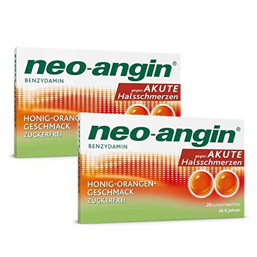neo-angin Benzydamin gegen akute Halsschmerzen | Sparset mit 2 x 20 Stück | Lutschtabletten mit Honig-Orangengeschmack für Erwachsene & Schulkinder | zuckerfrei