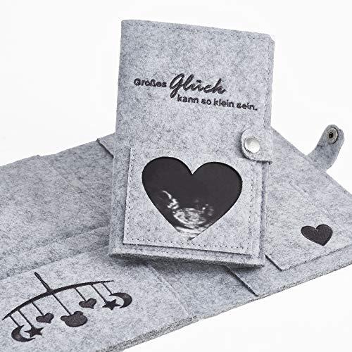 Mutterpasshülle aus Filz für die werdende Mama – Personalisierbares Geschenk für Schwangere (DE & Österreich, inkl. Platz für U-Heft)