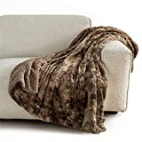 Bedsure Faux Fur Throw Blanket for Couch - Brown Fuzzy Plush Fluffy Soft Sherpa Fleece Blankets and Throws for Sofa and Bed, 50x60 inches