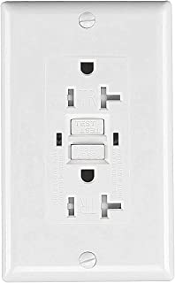 Self-Test Duplex Electrical GFCI outlet receptacle,Tamper Resistant GFCI wall outlet with LED indicator,20 AMP 125Volt,decorator wall plate included,UL approval(1-pack)