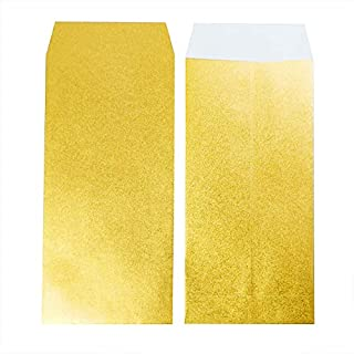 金の封筒 大 艶消しゴールド 日本製 90x185mm 金の封印シール付 【10枚セット】 (大)