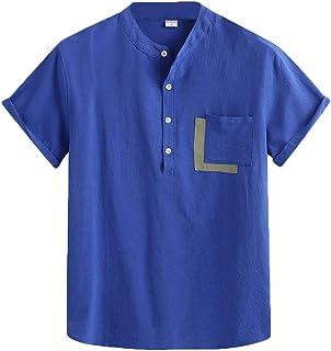 MU2M Mens Fashion Cotton Linen Stand Collar Short Sleeve Button Up Shirt
